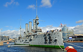 Rosja, Krążownik Aurora, Rosja, Zorza polarna