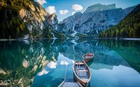 Pragser Wildsee, Lake Prags, Lake Braies, Dolomites, Alps, South Tyrol, Italy, Lake Braies, Dolomites, Alps, South Tyrol, Italy, lake, Mountains, reflection, Boat