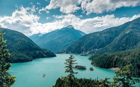 Ross Lake, National Recreation Area, Washington, Mountains, trees, landscape