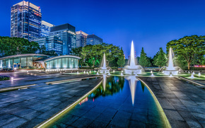 Wadakura Fountain Park, Tokyo, Japan, Парк фонтанов Вадакура, Япония, Токио, фонтаны