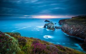 Fin de la Tierra, Cornualles, Inglaterra, Mar Céltico, Fin del Cabo Tierra, Cornualles, Inglaterra, Mar Céltico, costa, Rocas, mar
