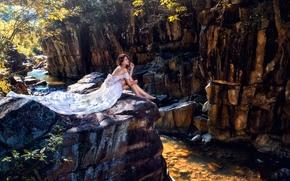 Asian, sposa, vestire, piedi, Rocce, fiume, stato d'animo