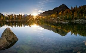 Poschiavo, Su??a, Val di Campo, Lago di Saoseo, Shaeytsariya, lago, p?r do sol, outono, Montanhas, reflex?o, pedras, fundo