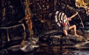 фотокартина, печать на холсте на заказ Украина ArtHolst индианка, скво, лук, роуч, перья, камни
