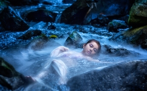 река, камни, вода, настроение, азиатка