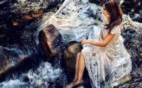 Asian, bride, dress, mood, river, stones