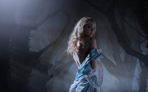 фотокартина, печать на холсте на заказ Украина ArtHolst Alice in Wonderland, девушка, платье, спина, лес