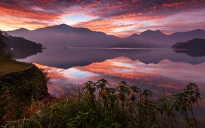 Yuchi, Taiwan, Lake Candidus, China, Sun Moon Lake, lago, p?r do sol, Montanhas, reflex?o