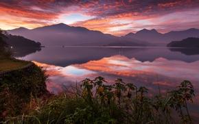 Sun Moon Lake, Lake Candidus, Yuchi, Taiwan, China, Sun Moon Lake, Yuchi, Taiwan, China, lake, sunset, Mountains, reflection