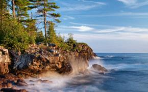 Algoma District, Ontario, Grandes Lagos, Canad?, Lago Superior, Lake Superior, Algoma, Ont?rio, lago, Rochas, costa, Pinho