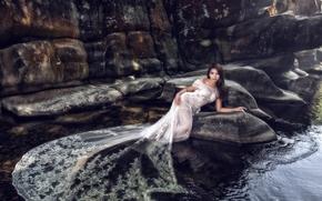 свадебное платье, платье, невеста, вода, азиатка, камни