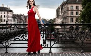 платье, стиль, красное платье, мост, модель