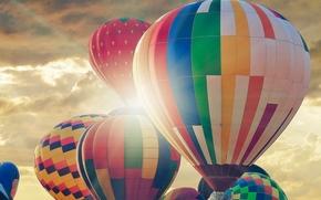 фотокартина, печать на холсте на заказ Украина ArtHolst монгольфьеры, аэростаты, воздушные шары, небо