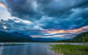 British Columbia, Canad?, Montanhas Rochosas, Rio Columbia, As Montanhas Rochosas, rio, Montanhas, c?u, Nuvens, panorama