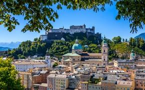 Catedral de Salzburgo, Salzburg, Festungsberg, ?ustria, Hohensalzburg Castelo, Hohensalzburg Fortress, Montanha Festungberg, constru??o, fortaleza, catedral, RAMO, panorama