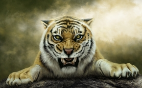sztuka, tygrys, szeroki uśmiech