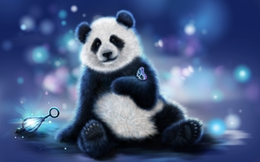 panda, mariposa, arte