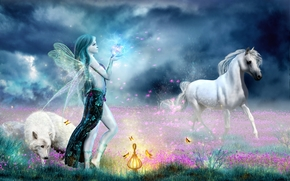 Magic Life, field, girl, horse, wolf, fantasy