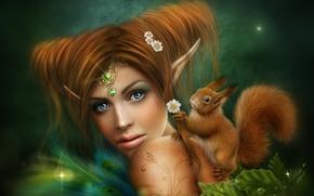 女孩, 松鼠, 艺术