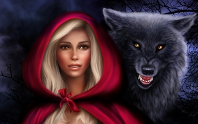Red Riding Hood, gray wolf, fantasy