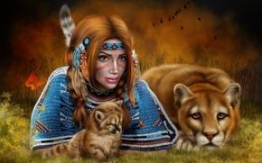 dziewczyna, lwica, sztuka