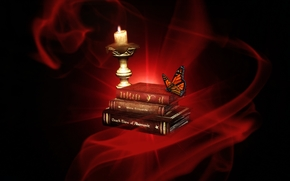 candle, book, butterfly