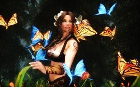 girl, Butterflies, art
