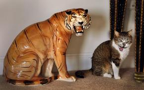 tigre, estatueta, COTE, arreganhar