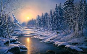 冬天, 日落, 森林, 树, 河, 猫头鹰, 景观, 绘画