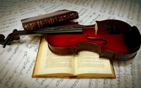 Books, violin, music