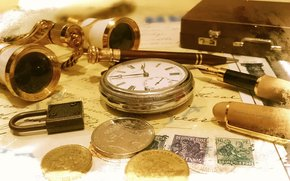 фотокартина, печать на холсте на заказ Украина ArtHolst деньги, часы, бинокль, ручка