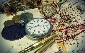фотокартина, печать на холсте на заказ Украина ArtHolst карта, деньги, часы, бинокль, ручка