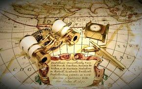 фотокартина, печать на холсте на заказ Украина ArtHolst карта, часы, бинокль, ручка