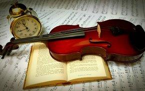фотокартина, печать на холсте на заказ Украина ArtHolst скрипка, книга, будильник