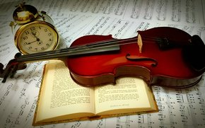 violin, book, alarm clock