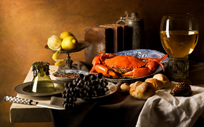 фотокартина, печать на холсте на заказ Украина ArtHolst еда, виноград, краб, лимоны