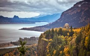 em Columbia River Gorge, Oregon, Crown Point, Casa de Vista