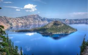 Crater Lake National Park, озеро, остров, деревья, пейзаж
