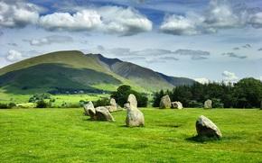 Reino Unido, Hills, Inglaterra, campo, Castlerigg Stone Circle, pedras, ?rvores, paisagem