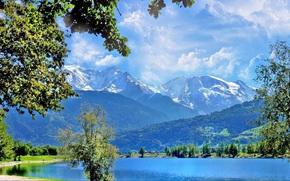 ?rvores, paisagem, Montanhas, Nuvens, lago