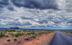 road, field, sky, clouds, landscape