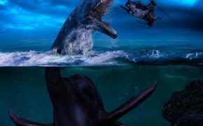 фотокартина, печать на холсте на заказ Украина ArtHolst морской динозавр, вертолёт, фантастика