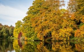 Inglaterra, Sturhed, Wiltshire, Stourhead Garden, parque ajardinado, lago, outono, ?rvores, reflex?o