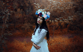 girl, mood, view, wreath, Flowers, forest