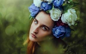girl, face, view, portrait, wreath, Flowers, mood