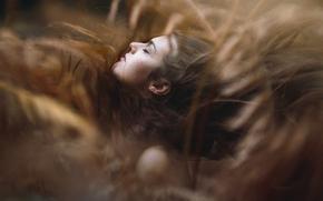 девушка, лицо, волосы, настроение, боке