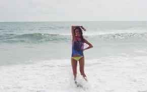 menina, mar, praia