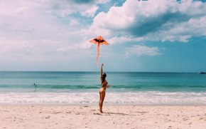 девушка, пляж, природа