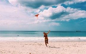 девушка, море, природа