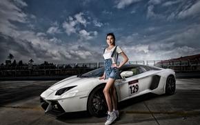 Lamborghini, Aventador, Lamborghini Aventador, sports car, Lamborghini Aventador LP 700-4, суперкар, модель, азиатка, поза